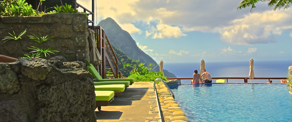 Wake up to the Pitons viewed from Ladera St. Lucia
